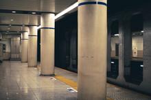 Silent Midnight Subway Platform