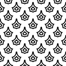 Seamless Surface Pattern Design With Crowns Ornament. Black Figures On White Background. Image With Floral Shapes. Ethnic Mosaic Tiles Motif. Antique Wallpaper. Vector Art. Simple Signs Illustration.