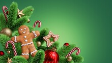 3d Render, Christmas Tree Closeup. Festive Seasonal Ornaments, Glass Balls, Candy Cane, Gingerbread Man, Cookies Isolated On Green Background