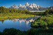 Schwabachers Landing in the early morning in Grand Teton National Park, with mountain reflections on the water creek