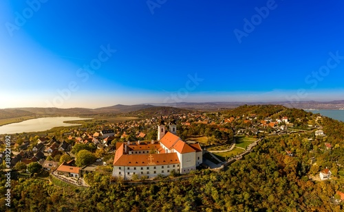 Obraz na plátně Tihany panoramic landscape with the abbey, lake Balaton, Hungary, autumn
