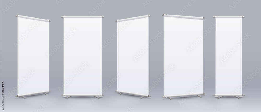 Fototapeta Blank roll banner. Realistic rollup stand mockup, empty billboard with place for text and logo, collection of information display and store advertising template. Vector vertical isolated placard set