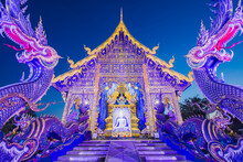 The Beauty Of The Blue Temple Or Wat Rong Suea Ten In Chiang Rai, Thailand..
