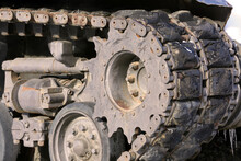 Old And Worn Army Tank Track Assembly Closeup