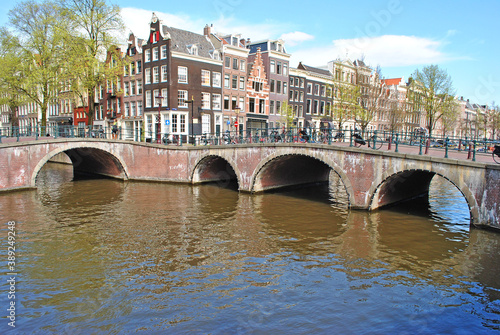 Fototapety, obrazy: Panorama of the city in the historic center of Amsterdam. Bridges, canals and old buildings.