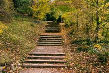 Steinstufen Im Herbstlichen Park