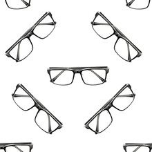 Glasses Seamless Pattern. Glasses For Sight. View From The Top.