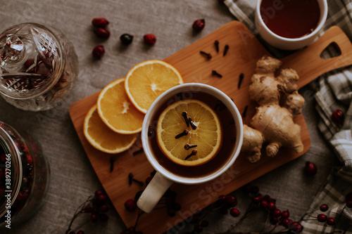 Fototapeta herbata, napoje, ciepło, odpoczynek, goździki  obraz