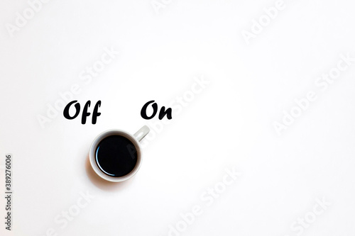фотография Coffee as a stimulant. Waking up. Off and On with copyspace