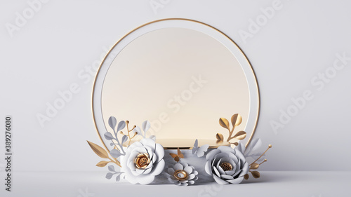 3d render, empty stage with round arch decorated with gold and white paper flowers, isolated on white background. Showcase with blank podium and floral arrangement, commercial product display mockup