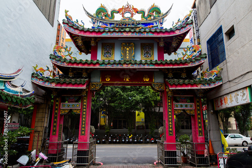 Tainan, Taiwan, October 12, 2019 Colorful Chinese pagoda decorated with sculptur Canvas