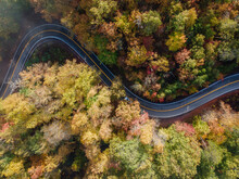 Aerial View Of The Tail Of The Dragon Road Near The Tennessee And North Carolina Border In The Smoky Mountains In The Fall