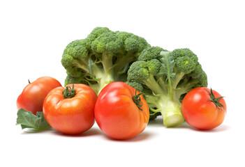 Fresh tomato and broccoli vegetable on white background