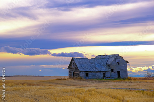 Fotografiet Abandoned farmhouse in rural alberta Canada with cloudy skies