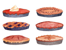 Thanksgiving Pies Watercolor Illustration.  Food Artworks. Bakery Hand Drawn Elements. Autumn Delicious Dishes For Holidays And Celebrations. Pumpkin Pie, Apple Pie, Chocolate Pie And Berries Pie.