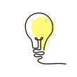 Continuous line drawing of light bulb.