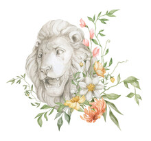 Watercolor Composition With Lion Bust And Flower Bouquet. Animal Sculpture And Foliage. Lion Head And Leaves. Ancient Statue In The Garden.