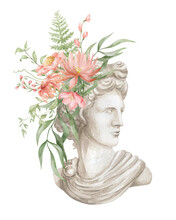Watercolor Composition With Apollo Bust And Flower Bouquet. Antique Sculpture And Foliage. Apollon Head And Leaves. Ancient Statue In The Garden.