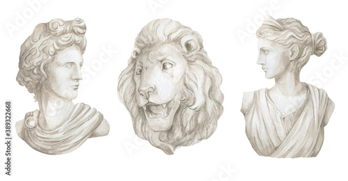 Foto Watercolor sculptures of gods, plaster architectural elements, head of Apollo, Diana, lion