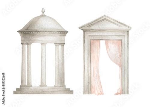 Fotografija Watercolor illustration with architectural elements