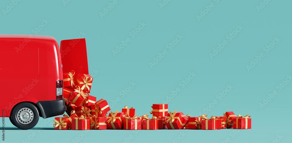 Fototapeta Santa Claus van delivering gifts. Christmas concept. 3d rendering