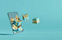 Christmas Online Shopping Concept On Smartphone. Creative Idea. 3d Rendering