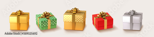 Obraz Set of gifts box. Collection realistic vector gift presents. Christmas golden and silver gifts. - fototapety do salonu