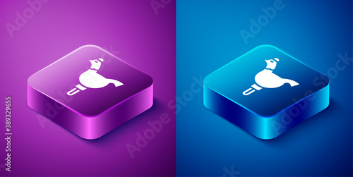 Isometric Candy cockerel lollipop on a stick icon isolated on blue and purple background Wallpaper Mural