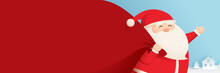 Santa Claus And A Huge Bag Of Gifts With Space For Text. Use For Cover, Greeting Cards, Banners, Ads, Invitation.