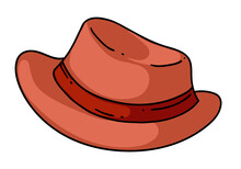 Cartoon Classic Man Brim Hat With Ribbon On White Background