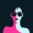 Fashion girl with black lips in sunglasses. Beautiful brunette woman face vector illustration. Stylish original graphic portrait with beautiful young attractive model.