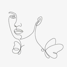 Woman Head With Butterfly Composition. Hand-drawn Vector Line-art Illustration. One Line Style Drawing.