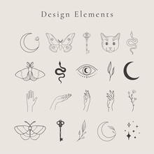 Collection Of Vector Abstract Spiritual Line Drawing Logo Design Elements, Decorative Illustrations And Icons For Various Ocasions And Purposes. Trendy Lineart Style