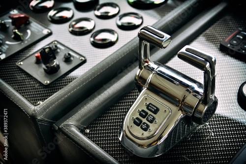 Fototapeta Close Up Shot Of Luxury Boat Controls
