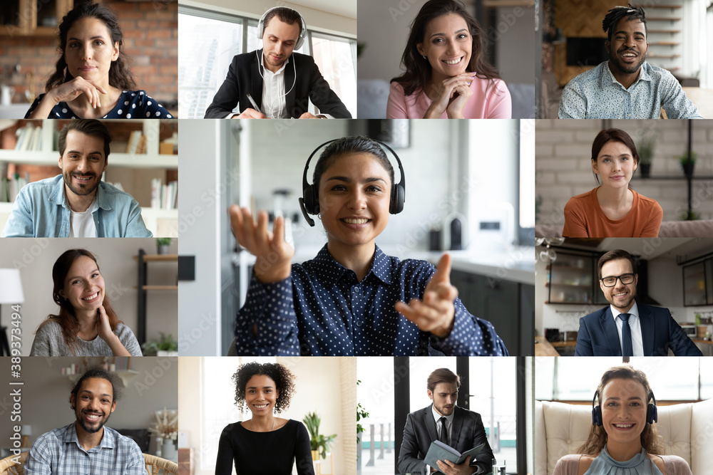 Fototapeta Head shot screen view diverse colleagues employees working online, making video call, engaged in conference, business people brainstorming, negotiating, using webcam and social media platform