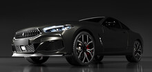 Modern Black Premium Car In Studio Light