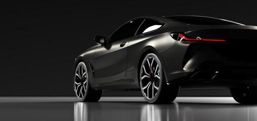 Rear view of modern black premium car in studio light