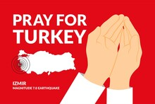 Pray For Turkey Campaign - Vector Flat Design Illustration : Suitable For World Theme, Country Theme, Humanity Theme, Infographics And Other Graphic Related Assets.