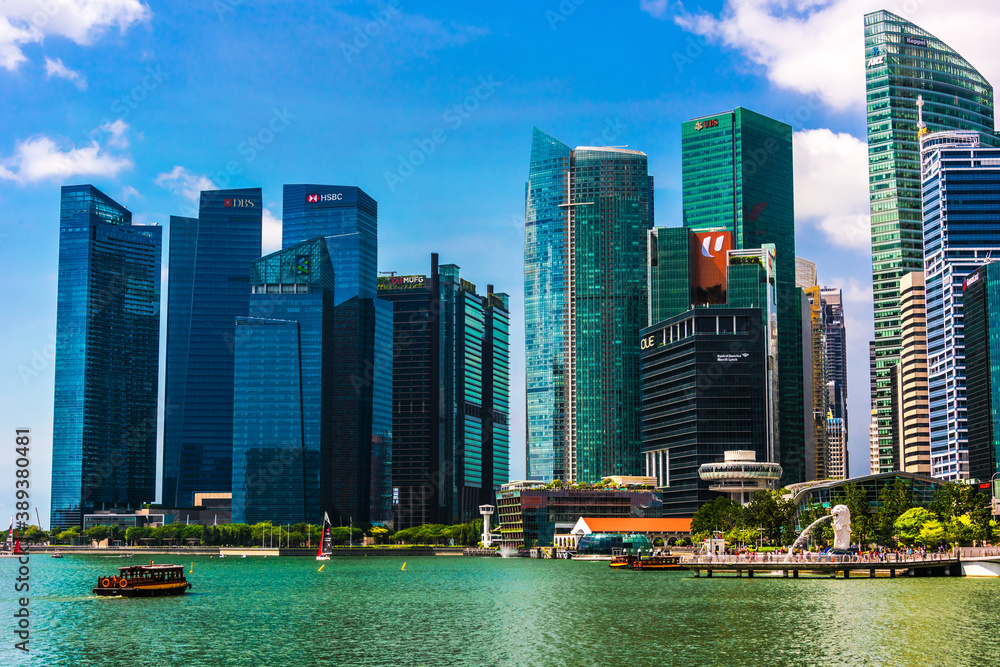 Singapore downtown business architecture seen from Esplanade