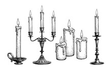 Ink Sketch Of Candles.
