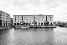 Grayscale Shot Of Royal Albert Dock Liverpool In The UK