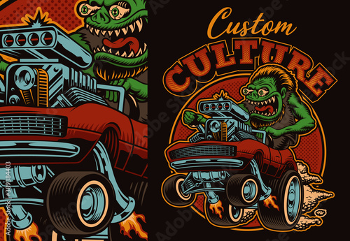 Fototapeta A colorful vector illustration of a cartoon hot rod, this design is perfect as a shirt print