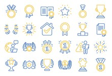 Award Line Icons. Set Of Winner Medal, Victory Cup And Laurel Wreath Award Icons. Reward, Certificate And Diploma Message. Glory Shield, Prize Winner, Rank Star, Diploma Certificate. Vector