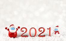 Santa Claus, Snowman With Blue...