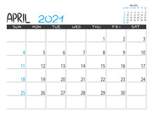 Calendar 2021 Year. April 2021...