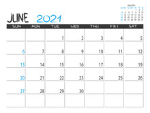 Calendar 2021 Year. June 2021 Planner. Desctop Calendar Design. Month Planner. Grunge Trendy Background. Life Or Business Planner. Place For Notes. Printable Template.