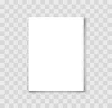 Realistic White Blank Paper With Shadow. Paper Page A4 Format. Mockup Of Paper Sheet On Transparent Background. Vector