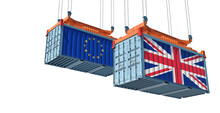 Freight Containers With European Union And United Kingdom Flag. 3D Rendering