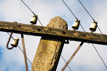 Old Style Wooden Power Pole. P...