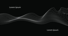 Abstract Vector Optical Art Illustration Of White Wave Lines Isolated On Background.